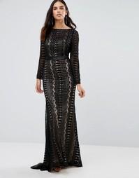 Платье макси с длинными рукавами и декоративной отделкой Forever Unique Audrey - Черный