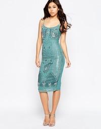 Платье миди на бретельках с отделкой Maya - Зеленый