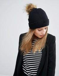 Тканая шапка-бини с декоративной строчкой Alice Hannah - Черный