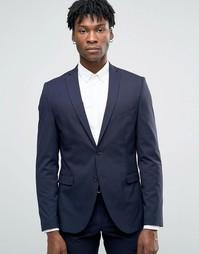 Пиджак узкого кроя из эластичной ткани Selected Homme - Темно-синий