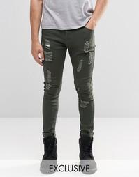 Зауженные джинсы цвета хаки в байкерском стиле Liquor & Poker - Зеленый