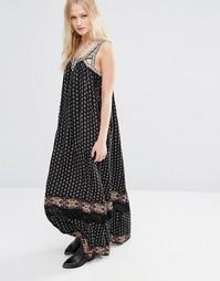 Платье макси в стиле бохо с принтом Hazel - Черный