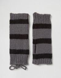 Полосатые митенки Hat Attack - Серый