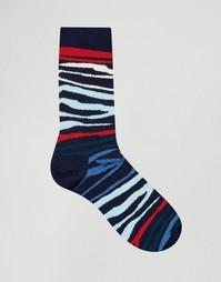 Носки с принтом зебра Happy Socks - Синий