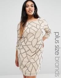 Декорированное цельнокройное платье Lovedrobe Plus - Черный