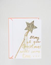 Рождественская открытка с волшебной палочкой со звездой Meri Meri - Мульти