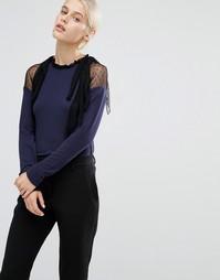 Джемпер с высокой горловиной, полупрозрачными рюшами и бантиками Lost Ink - Темно-синий