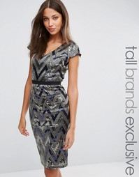 Платье-футляр с V-образным вырезом и пайетками Paper Dolls Tall - Серебряный