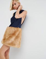 Платье мини с юбкой из искусственного меха ASOS WHITE - Мульти