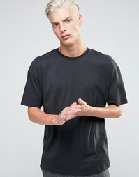 ADPT T-Shirt with Crew Neck in Boxy Fit - Черный