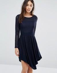 Короткое приталенное платье с отделкой кроше Wal G - Темно-синий