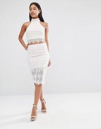 Облегающая юбка из кружева Love Triangle - Белый