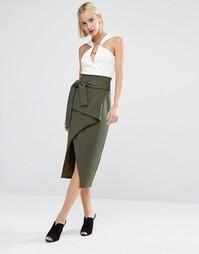 Асимметричная юбка миди с запахом и завязкой спереди Lavish Alice - Зеленый
