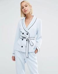 Двубортная рубашка в пижамном стиле с завязывающимся поясом Lavish Alice - Синий