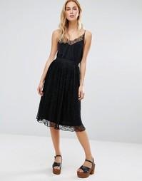 Кружевная юбка миди Fashion Union - Черный