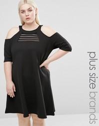 Свободное платье с открытыми плечами и сетчатой вставкой Pink Clove - Черный