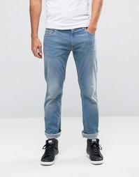 Джинсы узкого кроя с принтом на заднем кармане Love Moschino - Синий