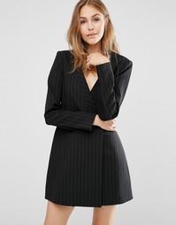 Платье-пиджак в тонкую полоску с длинными рукавами BCBG MAXAZRIA - Черный