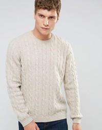 Джемпер из смешанной шерсти с узором косичка ASOS - Бежевый