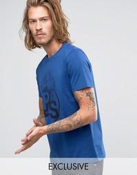 Синяя футболка слим с принтом PS Paul Smith EXCLUSIVE - Синий