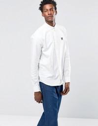 Оксфордская рубашка классического кроя на пуговицах с логотипом Wood Wood Timothy - Белый