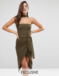 Платье миди с горловиной‑чокер и завязывающимся поясом Lavish Alice - Зеленый