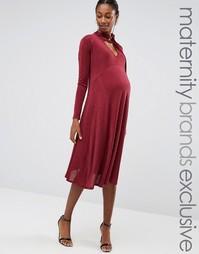 Платье миди с бантиком для беременных Bluebelle Maternity - Красный
