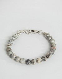 Серо-белый браслет из бусин с мраморным эффектом Seven London - Серый