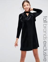Бархатное цельнокройное платье с длинными рукавами и рюшами True Decadence Tall - Черный