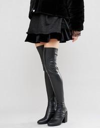 Черные сапоги‑ботфорты на каблуке Daisy Street - Черный