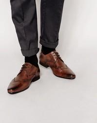 Кожаные туфли с фигурной строчкой на носке Frank Wright - Коричневый