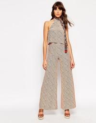 Широкие брюки с принтом линий ASOS x Jackie - Мульти
