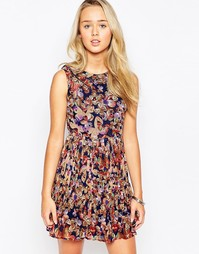 Платье со складками и принтом бабочек Iska - Мульти