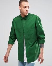 Зеленая рубашка классического кроя с 2 карманами Weekday - Зеленый