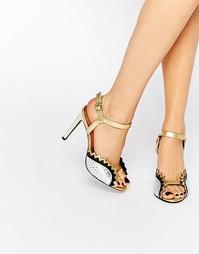 Золотистые и серебряные сандалии на каблуке-шпильке Kat Maconie Gretchen - Серебряный