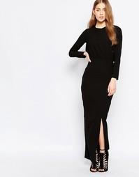 Платье макси с вырезом сзади и высоким разрезом спереди Twin Sister - Черный