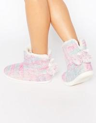Меланжевые ботинки‑слиперы крупной вязки Totes - Розовый