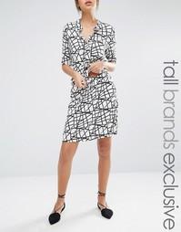 Мини-юбка с принтом линий и затягивающимся шнурком Y.A.S Tall - Мульти