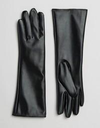 Длинные перчатки из искусственной кожи 7X - Черный