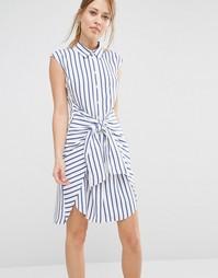 Платье в полоску с завязкой спереди Closet - Мульти