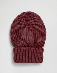 Шапка-бини в крупный рубчик с отворотом Hat Attack - Красный