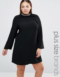 Платье с декорированным воротником Lovedrobe Plus - Черный
