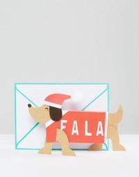 Раскладная рождественская открытка с таксой Meri Meri - Мульти