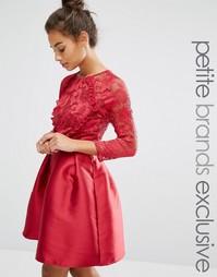 Платье мини с кружевным лифом и атласной юбкой Little Mistress Petite - Красный