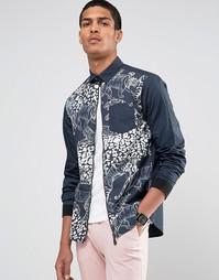 Рубашка на молнии классического кроя с принтом тигров Versace - Темно-синий