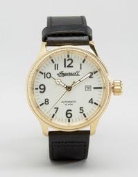 Часы с черным кожаным ремешком Ingersoll Apsley Automatic - Черный