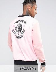 Тканый свитшот с принтом сзади Hype Souvenir - Розовый