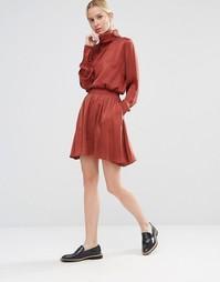 Шелковая юбка Gestuz Lullu - Медный