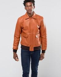 Кожаная куртка-пилот с контрастной отделкой Wood Wood Dean - Рыжий