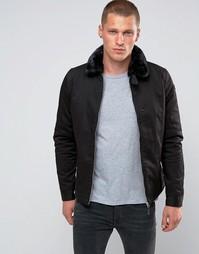 Дутая куртка Харингтон со съемным меховым воротником Schott Evans - Черный
